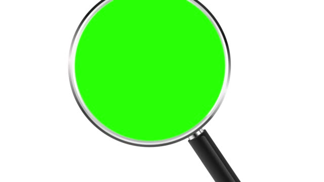 Magnifying glass with zoom into chroma key green insert. 4K