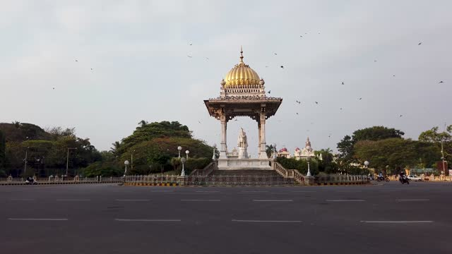 Maharaja Memorial is one of the many famous monuments is Mysuru cityscape, a perfect travel destination for the tourists visiting Karnataka, India in 4k resolution.