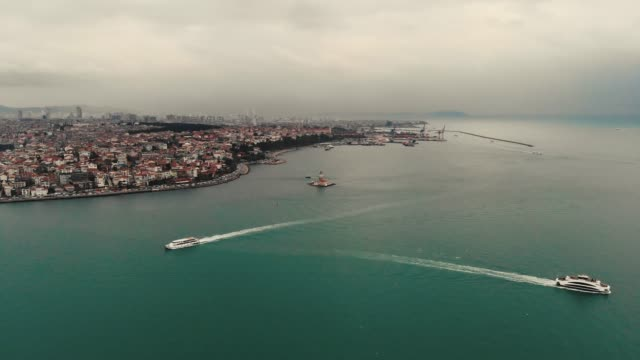 Maiden's tower in Istanbul aerial view