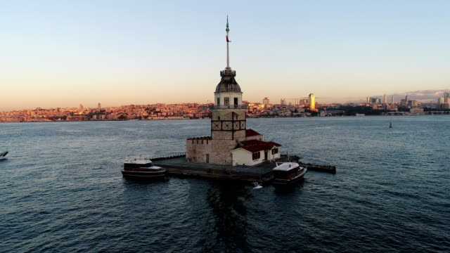 Maiden's Tower Istanbul Flying to Maiden's Tower (Kiz Kulesi) Where Placed in Istanbul Bosphorus. Maiden's Tower is the one of the most peerless and Beautiful Historical Building in Istanbul. istanbul stock videos & royalty-free footage