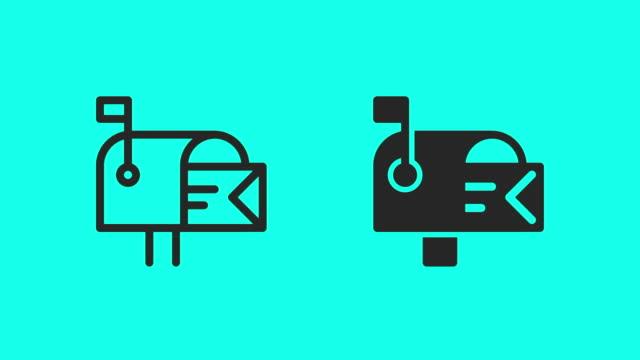mailbox-symbole - vector animate - briefkasten stock-videos und b-roll-filmmaterial