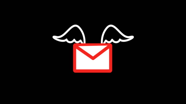 4K Mail Flying with Wings Animation / Black Background Letter, Send, Communication, File, Computer Network, Flying, Wings email icon stock videos & royalty-free footage