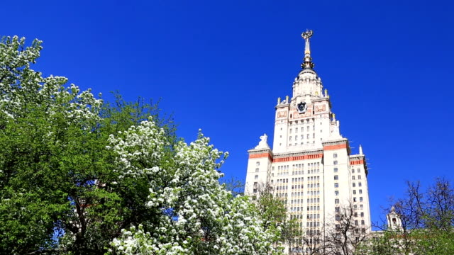 Main building of MSU under blue sky, Moscow, Russia Spring gardens near the main building of MSU (Moscow State University) under clear blue sky. neoclassical architecture stock videos & royalty-free footage