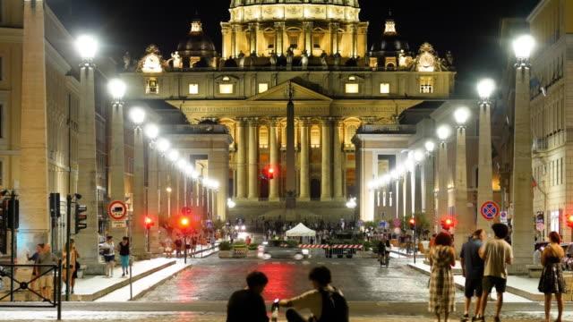 huvudfasaden till basilikan san pietro, vatikanen. rom - påve bildbanksvideor och videomaterial från bakom kulisserna