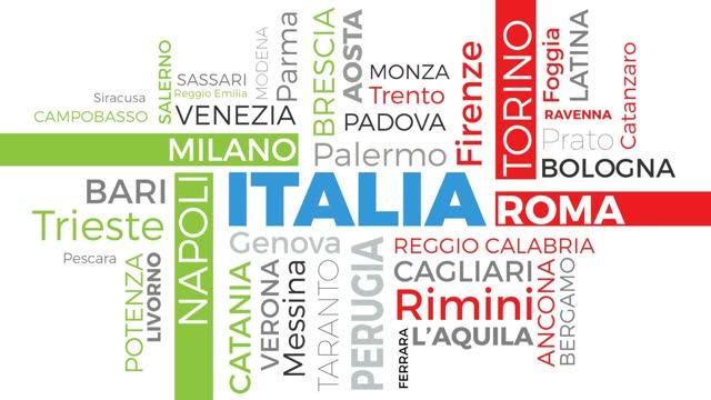 principali città italiane, tag e parole in una nuvola, italia in movimento, testo animato 4k su sfondo bianco in design piatto. - milan fiorentina video stock e b–roll