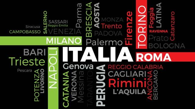 principali città italiane, tag e parole in una nuvola, italia in movimento, testo animato 4k su sfondo nero in design piatto. - milan fiorentina video stock e b–roll