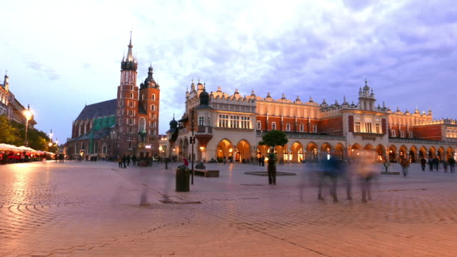 Main Market square of Krakow at twilight video