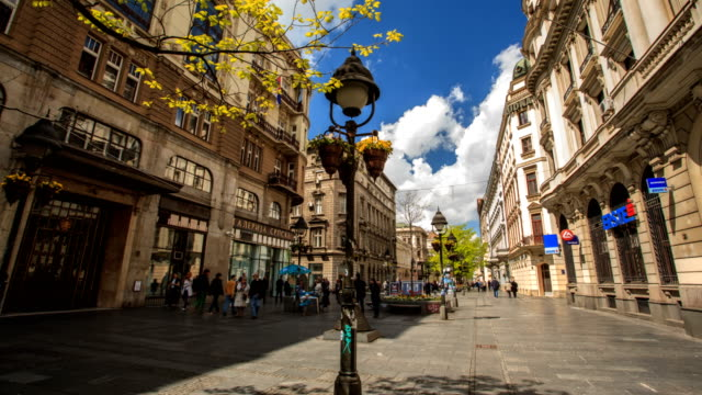 main street in belgrade hyperlapse - serbia video stock e b–roll