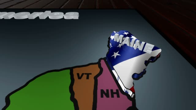 Maine pull out from USA states abbreviations map video