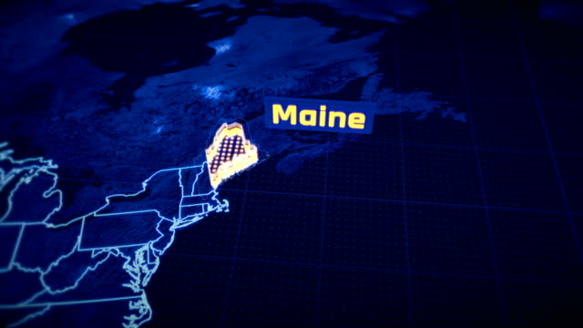 US Maine state border 3D visualization, modern map outline, travel video