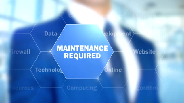 maintenance required, man working on holographic interface, visual screen - голографический стоковые видео и кадры b-roll