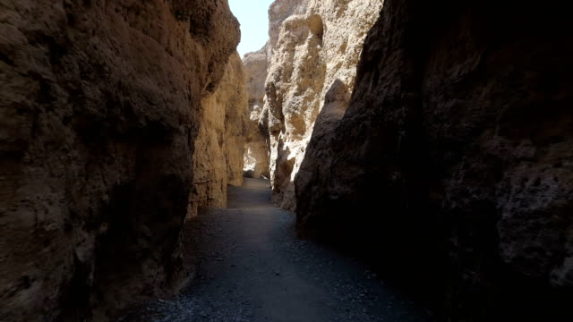 Majestic gorge on Namibian desert Rocky gorge in Namibian desert.  Sesriem Canyon footpath stock videos & royalty-free footage