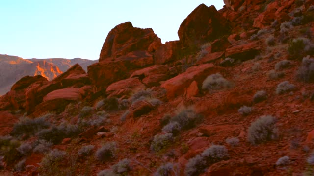 pov of majestic red rock formations and mountains - parco statale del red rock canyon video stock e b–roll