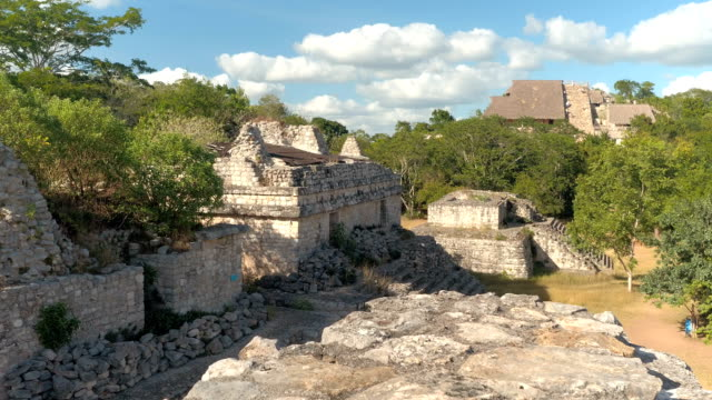 CLOSE UP: Majestic ruins of ancient Mayan temples at Ek Balam archeological site