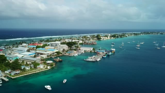 majuro atoll and majuro town in marshall islands - majuro video stock e b–roll