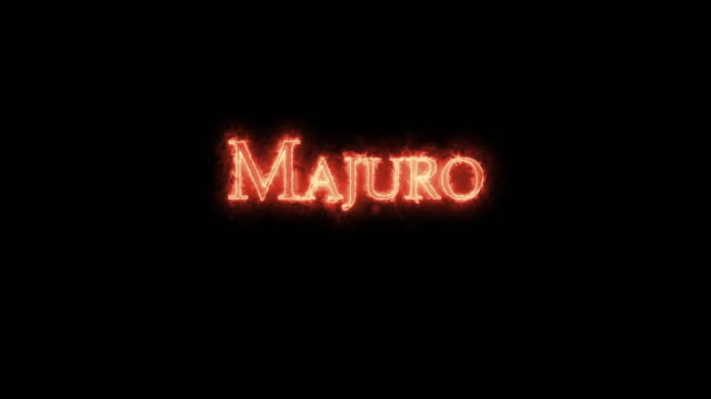 majuro written with fire. loop - majuro video stock e b–roll
