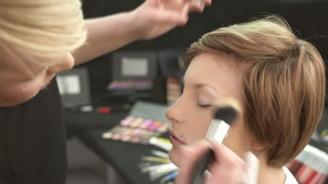 HD: Make-Up Artist Preparing Model Backstage video