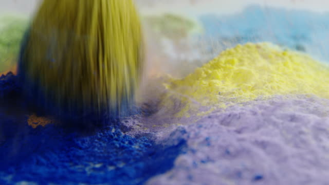 Makeup brush abstract backgrounds slow motion beauty colorful powder video