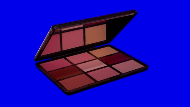 Makeup Eyeshadow Palette opens on a blue chroma key