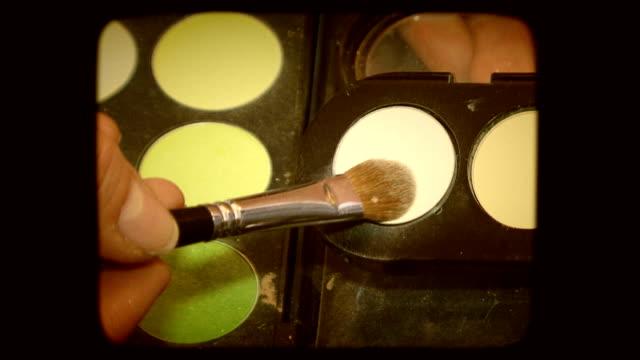 Make-up palette. Old movie video