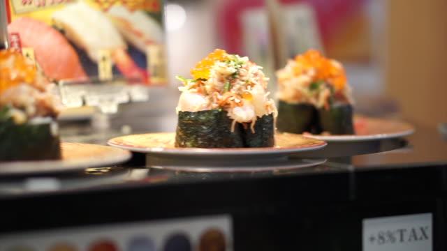 日本の牧握り寿司 coveyer ベルト ビデオ
