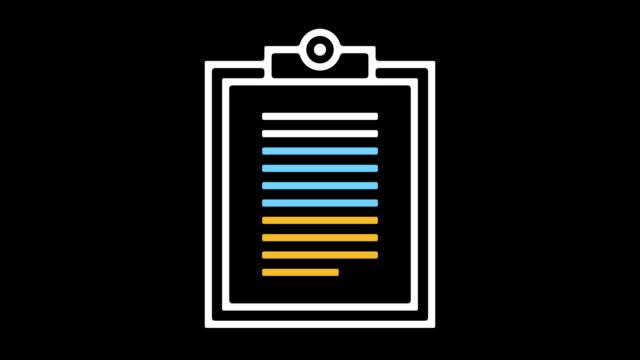 vídeos de stock, filmes e b-roll de fazer uma lista de verificação linha ícone animação com alfa - questionário