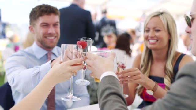 Making A Race Day Toast Making a toast at the races on race day, enjoying alcoholic drinks and chatting. party social event stock videos & royalty-free footage