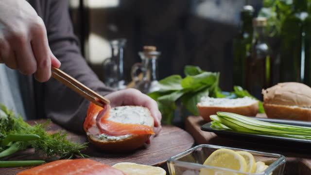 Making a smoked salmon sandwich video