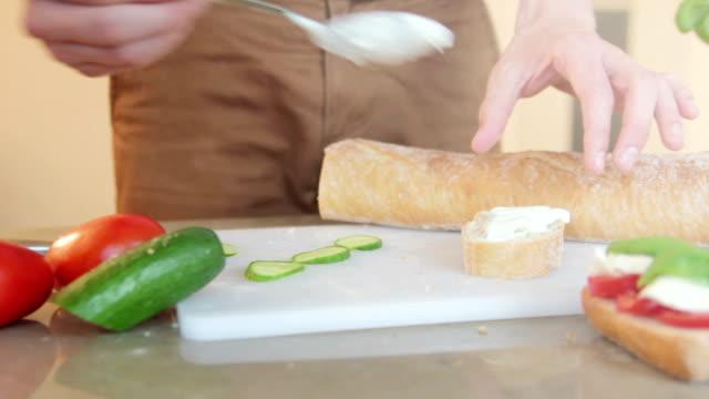 Making a tzatziki and cucumber sandwich video