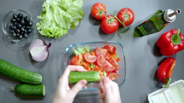 Making greek salad video