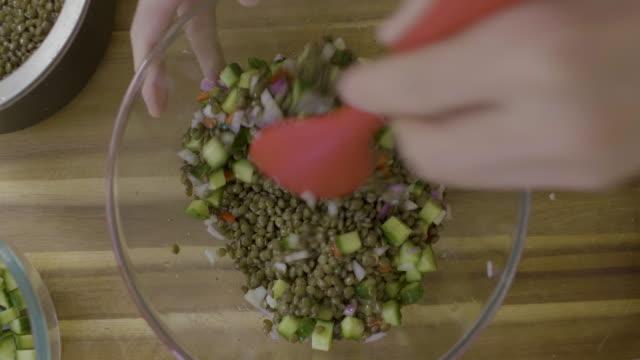 making green lentil,cucumber salad