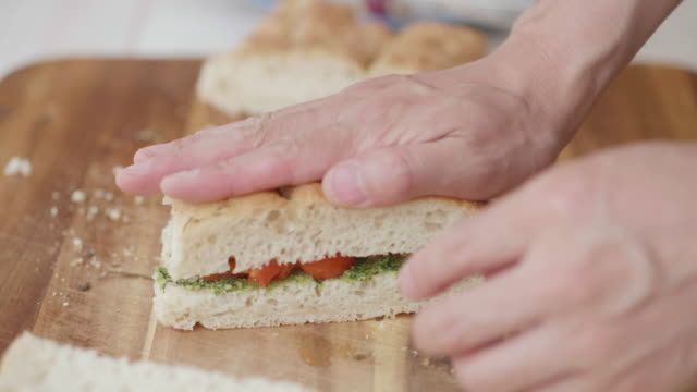 making grilled vegetable focaccia sandwich video