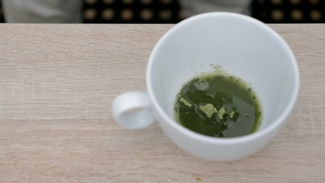 Making matcha tea in a cafe video