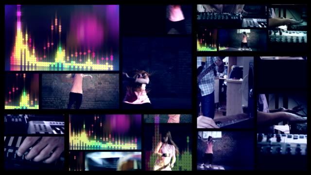 vídeos de stock, filmes e b-roll de fazendo música. dançarino de hip-hop tela dividida. - músico