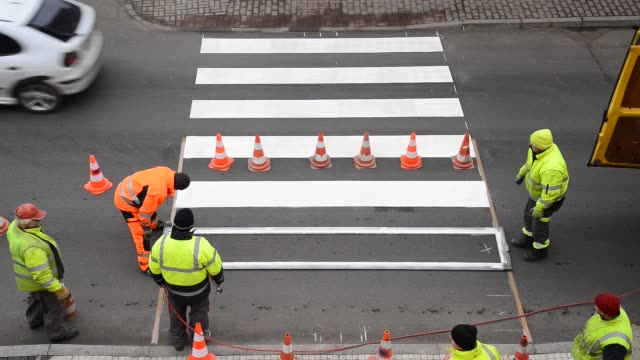making of pedestrian crossing, real time,locked down, video