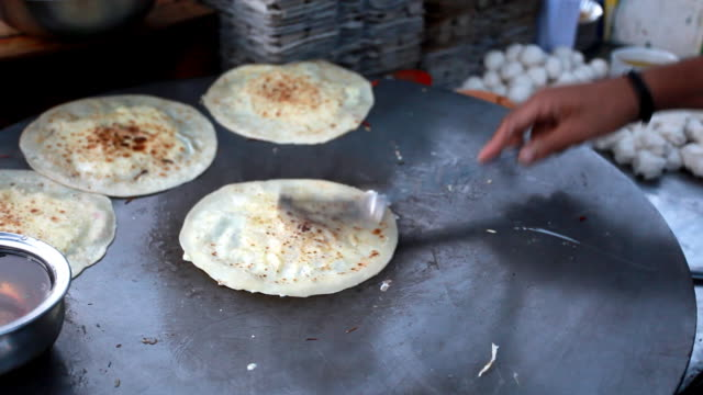 Making Parantha Roll in the Roadside restaurant video
