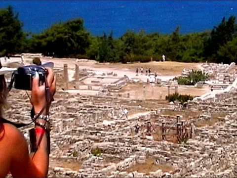 Making pictures from old ruin Rhodes, Greece aegean islands stock videos & royalty-free footage