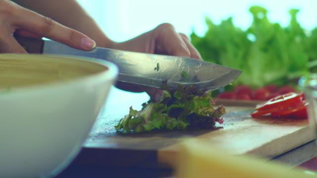 vídeos de stock, filmes e b-roll de fazendo salada - vegetarian meal