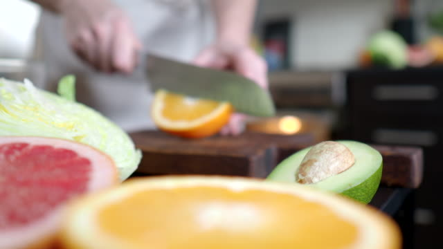 Making salad with grapefruit and avocado video