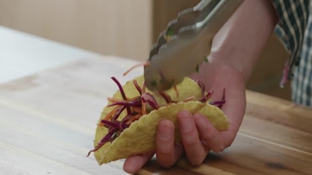 making vegetarian tacos at home
