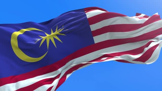 malaysia - 3d realistic waving flag background - malese video stock e b–roll