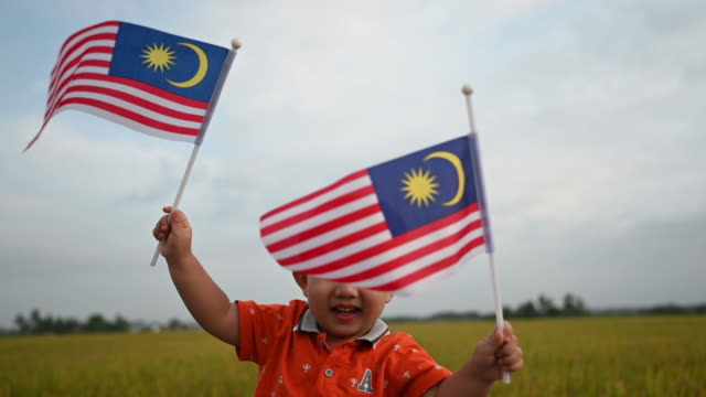 malaysia independence day an asian chinese young boy waving with malaysia flag at padi field enjoying morning sunlight and feel proud and happy