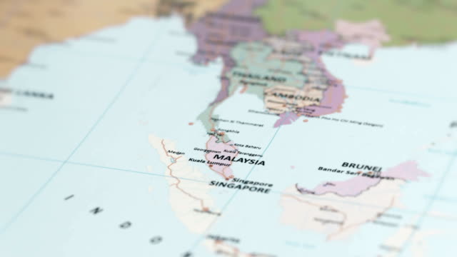 asia malaysia on world map - malese video stock e b–roll