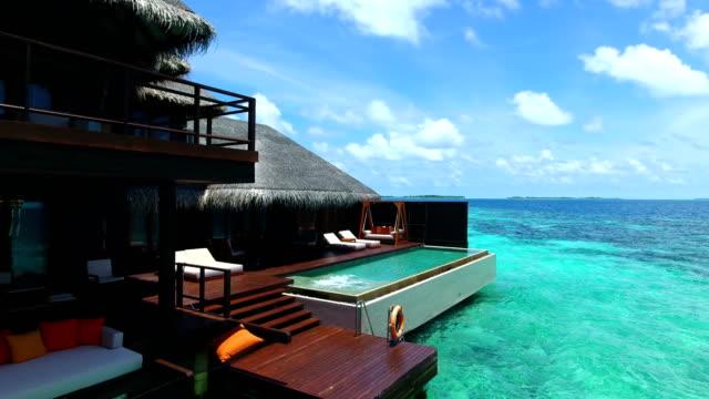 モルディブでは、青い空、ターコイズ ブルーの海、白い砂、緑の椰子の木。 - ヴィラ点の映像素材/bロール
