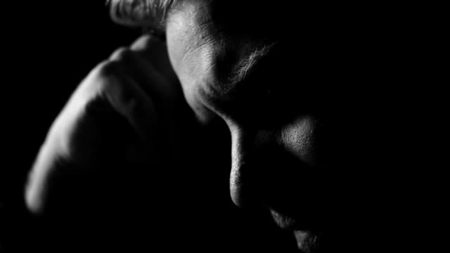 Male adult with depression sadness, greif and post traumatic stress disorder video