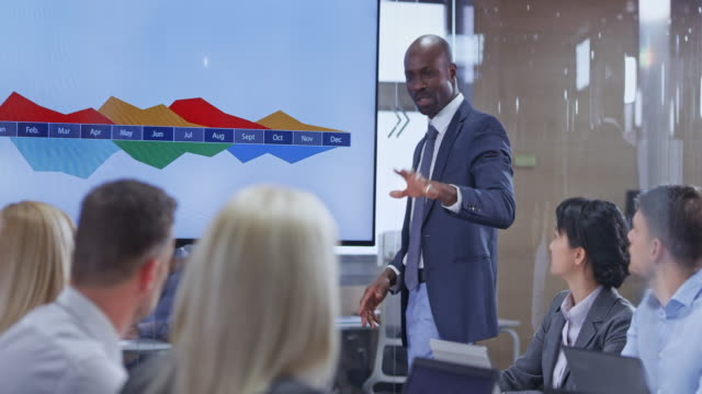 Male African-American business man holding a presentation in the conference room