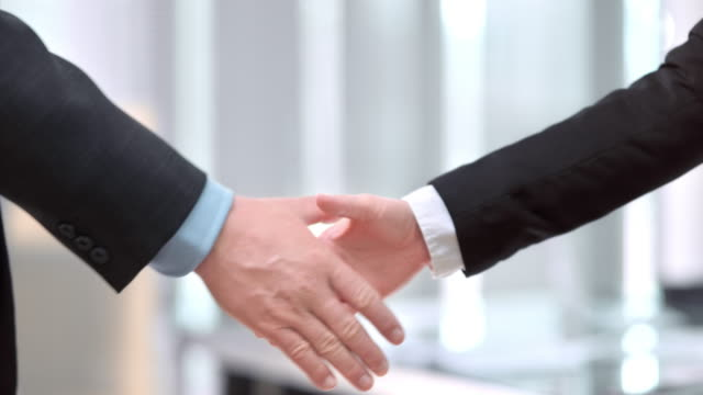 SLO MO DS Male and female business handshake video