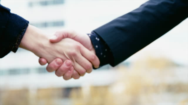 DS Male and female business handshake video