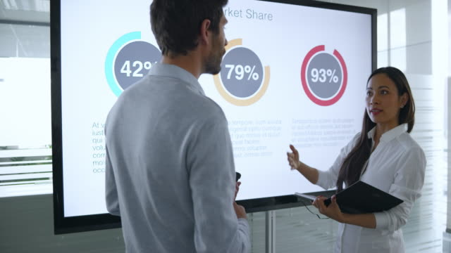 Male and female colleague discussing the financial diagrams on the large screen in meeting room and preparing for the presentation