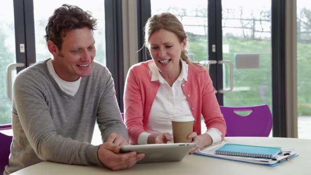 Male And Female College Tutors Meeting In Classroom video